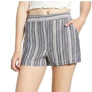 grey / gray & white striped socialite linen shorts